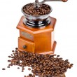Coffee grinder with coffee beans on isolated white background — Stock Photo