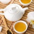 Stock Photo: Tea on bamboo
