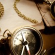 Vintage background with old compass — Stock Photo