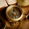Vintage background with old compass — Stock Photo #11154596
