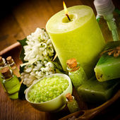 Vintage green spa still life with handmade soap — Stock Photo