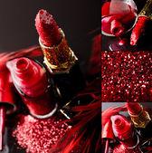 Kosmetyczne tło z czerwona szminka i lakier do paznokci na czarnym tle — Zdjęcie stockowe