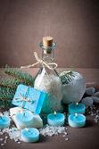 Blue spa still life on beige background — Stock Photo