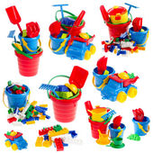 Conjunto de juguetes en fondo blanco aislado — Foto de Stock