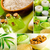 Collage of green spa still life — Stock Photo