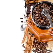 Coffee and grinder on isolated white background — Stock Photo