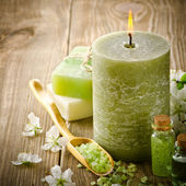 Spa still life with green candle — Stock Photo