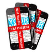 Telefony komórkowe prezentuje na białym tle na białym tle — Zdjęcie stockowe