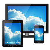 Tablet pc, mobile phone and pc with bright sky menu screen isolated on white background — Stock Photo