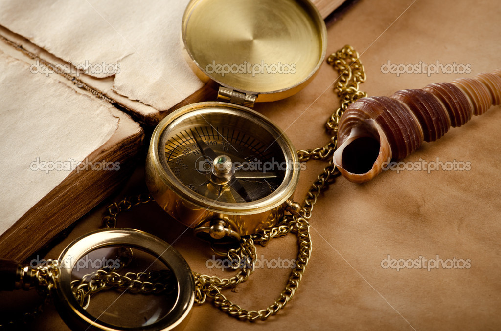 Vintage background with old compass — Stock Photo #11154701
