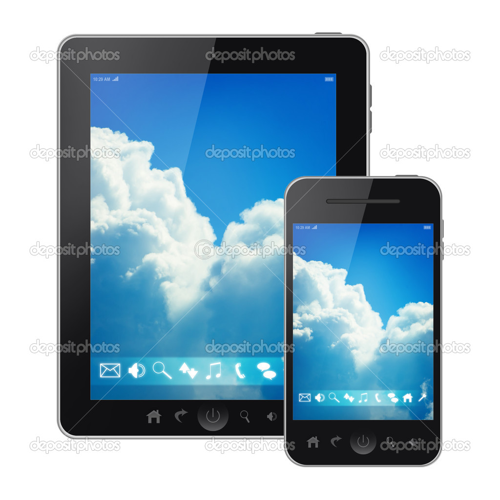 Tablet pc and mobile phone with bright sky menu screen isolated on white background  Stock Photo #11156353