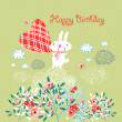 Greeting card with a bunny — Stock Vector