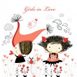 Girls in love — Stock Vector