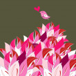 Pink petals and a bird — Stockvectorbeeld