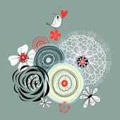 Fond floral avec un oiseau de l'amour — Vecteur