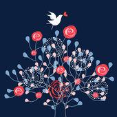 Oiseau et arbustes ornementaux — Vecteur
