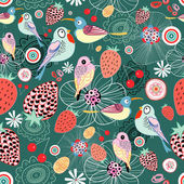 Texture of berries and birds — Vector de stock