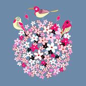 Flower ball and birds — Stock Vector