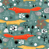 Winter texture with foxes — Stock Vector