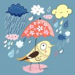 Bird under the umbrella — Stock Vector