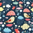 Autumn texture with birds and rain — Stok Vektör