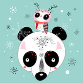 Winter postcard of a panda and owl — Stock Vector