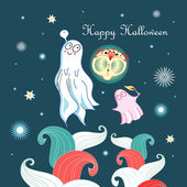 Greeting card with ghosts — Stock Vector