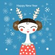Winter greeting card with a girl — 图库矢量图片