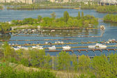 Dnieper River and boat station — Stock Photo