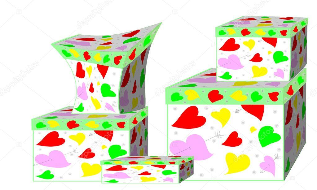 sch ne geschenk boxen mit herzen auf wei em hintergrund. Black Bedroom Furniture Sets. Home Design Ideas