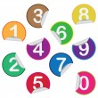 Stickers with numbers. — Stock Vector
