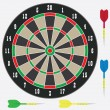Dartboard with darts. — Stock Vector