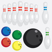 Set of bowling tools. — Stock Vector