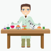 Chemist in the laboratory. — Stock Vector