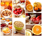 Breakfast with fruits cereals — Stock Photo