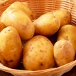 New potatoes in a basket — Stock Photo
