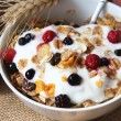 Stock Photo: Muesli with yogurt,healthy breakfast rich in fiber