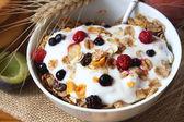 Muesli with yogurt,healthy breakfast rich in fiber — Stock Photo
