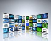 Panel tv con imágenes de tecnología — Foto de Stock