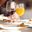 Glasses set with drinks in restaurant — Stock Photo #11140737