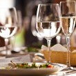 Empty glasses set in restaurant — Stock Photo #11140744