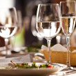 Empty glasses set in restaurant — Stock Photo