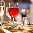 Glasses set with drinks in restaurant — Stock Photo #11140755