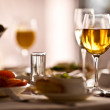 Glasses set with drinks in restaurant — Stock Photo #11140769