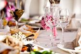 Copos vazios definidos no restaurante — Foto Stock