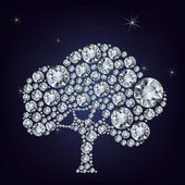 Fairy tail tree made from diamonds. — Stock Vector