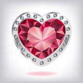 Ruby heart in diamonds — Vettoriale Stock