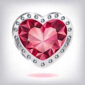 Ruby heart in diamonds — Stock Vector