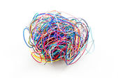 A ball of colourful cables — Stock Photo