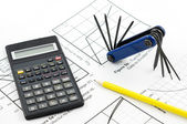 Calculator and tool — Stock Photo